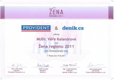 Žena regionu 2011 - certifikát pro primářku NeoVize Věru Kalandrovou