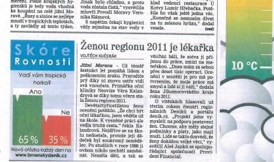 Žena regionu 2011 - článek o vítěztví primářky NeoVize Věry Kalandrové