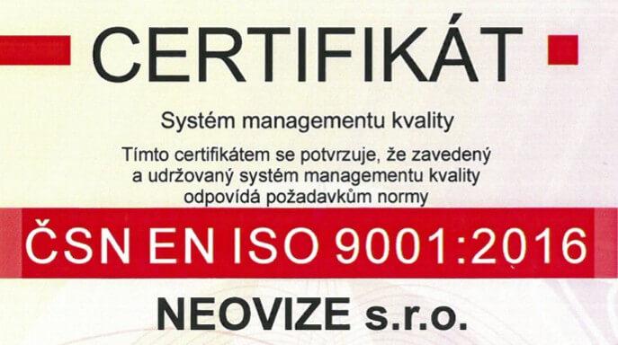 Certifikát ISO obhájen